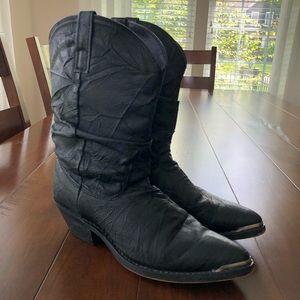 Dingo Black Leather Slouch Cowboy Boots 7.5